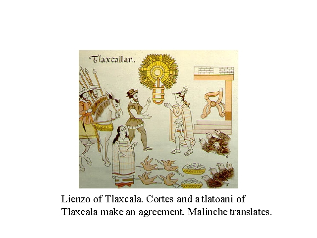 Lienzo of Tlaxcala. Cortez and tlatoani of Tlaxcala make an agreement. Malinche translates.JPG