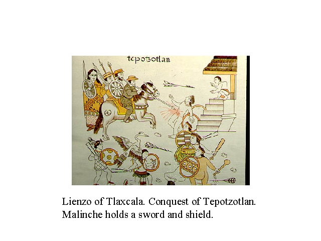 Lienzo of Tlaxcala. conquest of Tepoztlan. Malinche holds a sword and shield.jpg